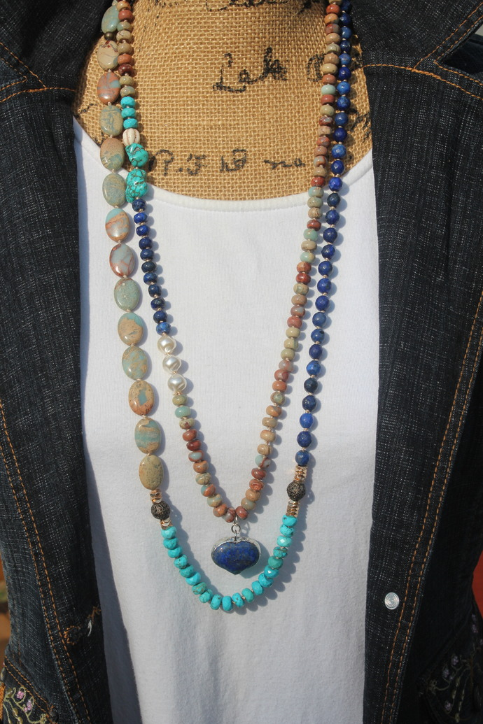 Long Beaded Necklace with Pendant Set of 2 Lapis Jasper Boho Glam by KnottedUp