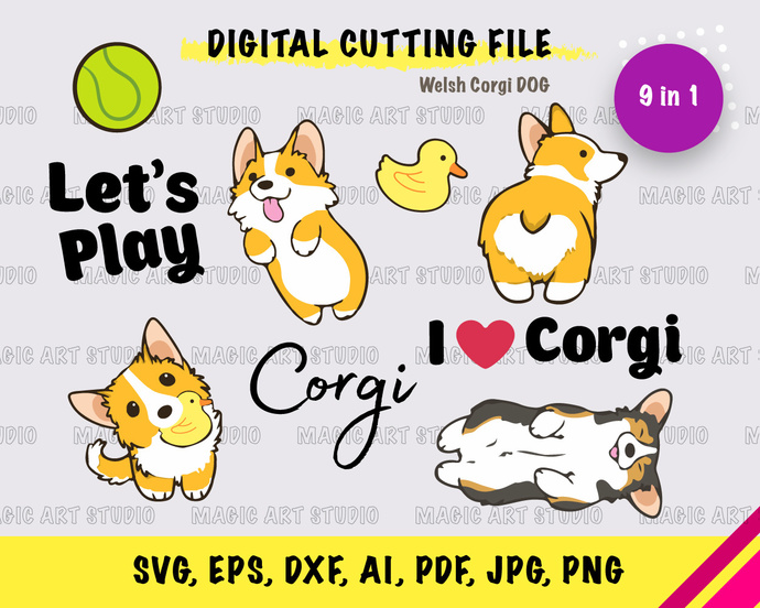 Welsh Corgi INSTANT DOWNLOAD (SVG, eps, dxf, ai, pdf, jpg, png, cutting file)