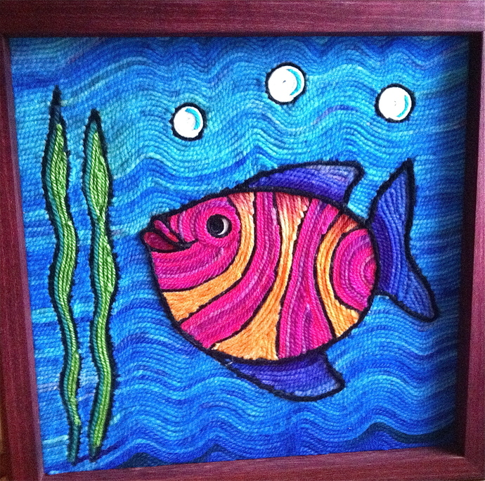 Fishy Wishy yarn painting!!