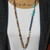 Boho Glam Fall colors Long Beaded Necklace with Heart Pendant Blue Brown by