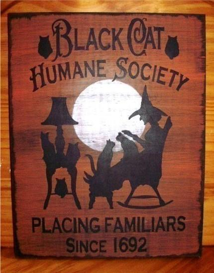 Primitive Witch Sign Black Cat Humane Society Cats Witches Halloween Decorations