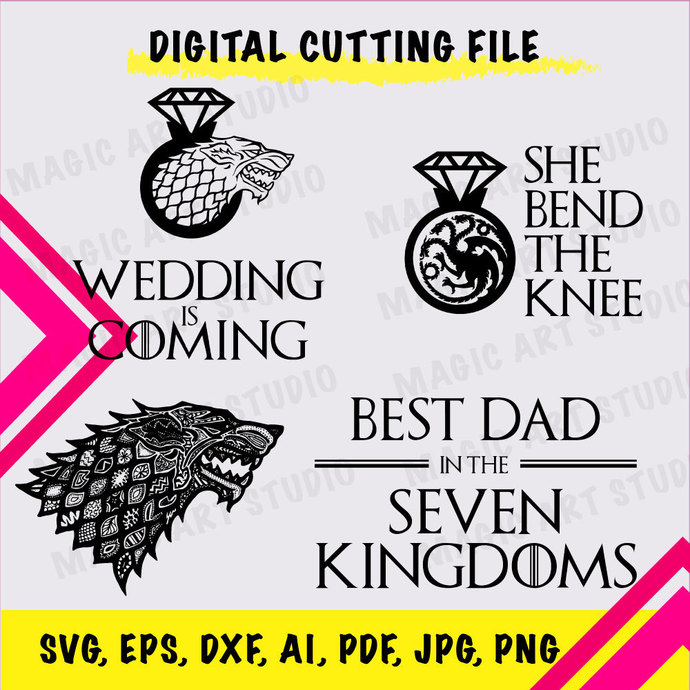 GAME OF THRONES 4 in 1  INSTANT DOWNLOAD (SVG, eps, dxf, ai, pdf, jpg, png,