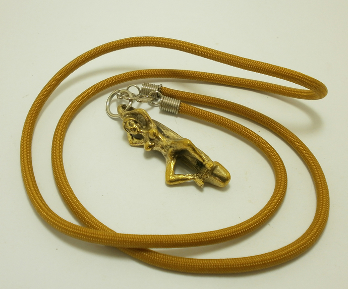 Woman Lady on lingham phallic penis amulet pendant necklace love attraction good