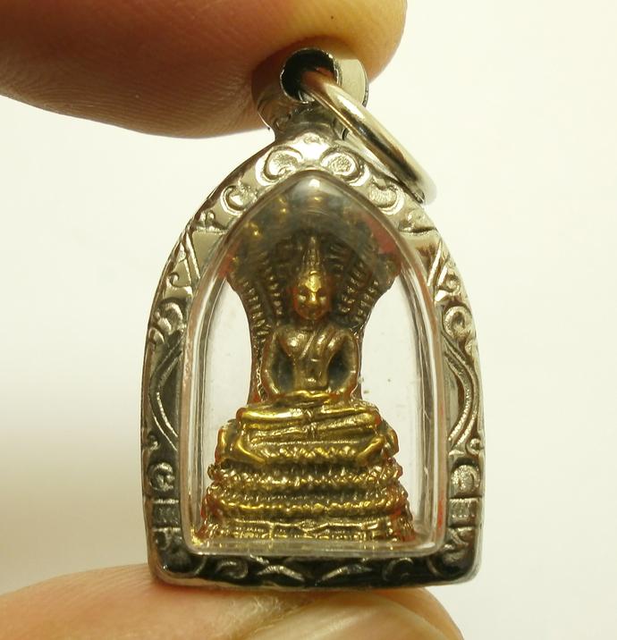 Lord Buddha protect by Naga Nak snakes Nakprok small pendant Thai Saturday