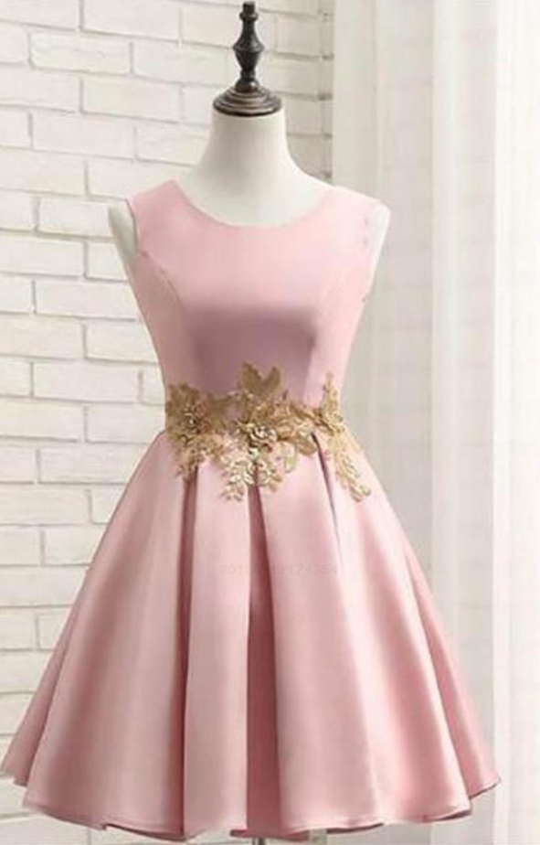 Short Prom Dresses Pink Short Prom Dress Satin Homecoming Dress With Gold