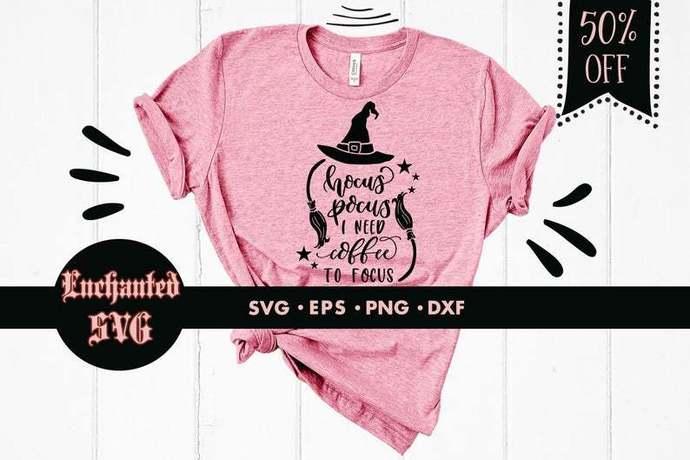 Hocus pocus I need coffee to focus svg, Halloween svg, Coffee svg, Witch svg,