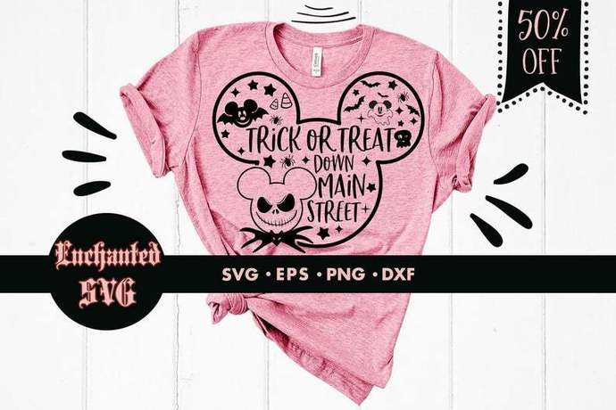 Trick or treat down main street svg, Disney Halloween svg, Mickey mouse svg,