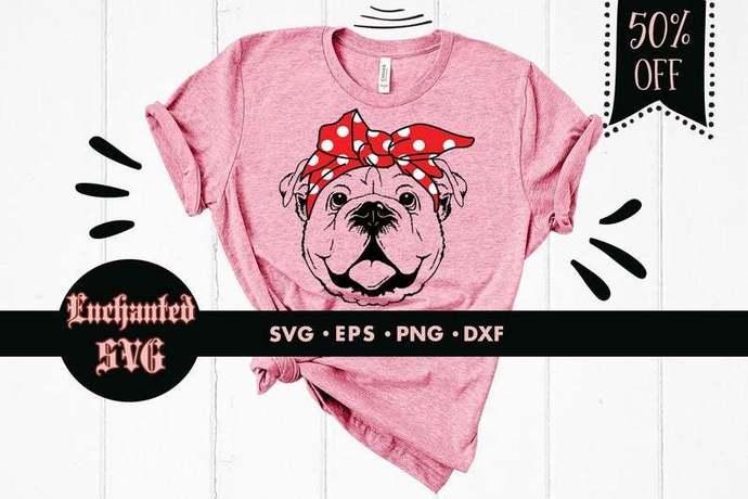 Bulldog svg, Bulldog cut file, Funny svg, Bulldog with bandana svg, Dog svg,