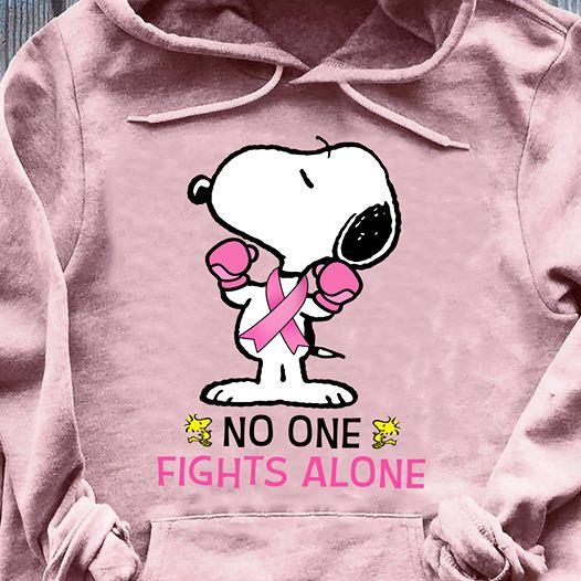 No one fights alone shirt, Cancer shirt, Snoopy Shirt