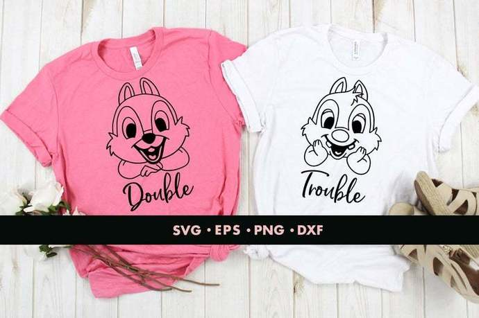 Chip and Dale svg, Double trouble svg, Chip svg, Dale svg, Squirrel svg, Couple