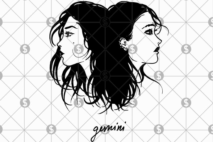 Gemini zodiac girl svg, gemini zodiac, gemini gift, gemini girl svg, gemini