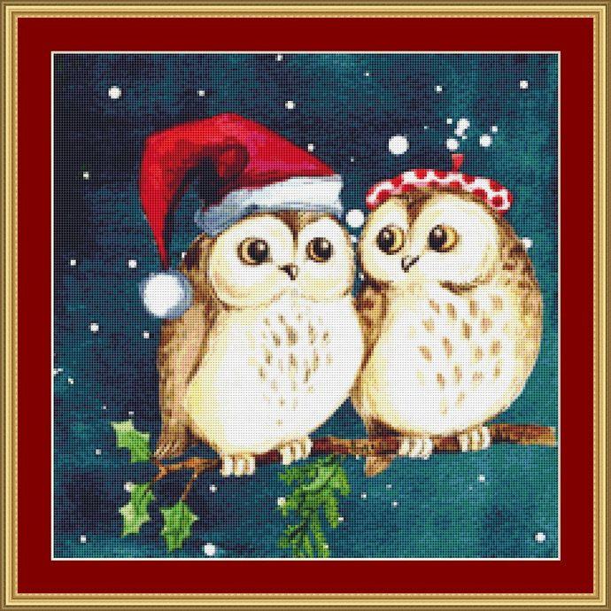 Christmas Owls Cross Stitch Pattern - Instant Digital Downloadable Pattern