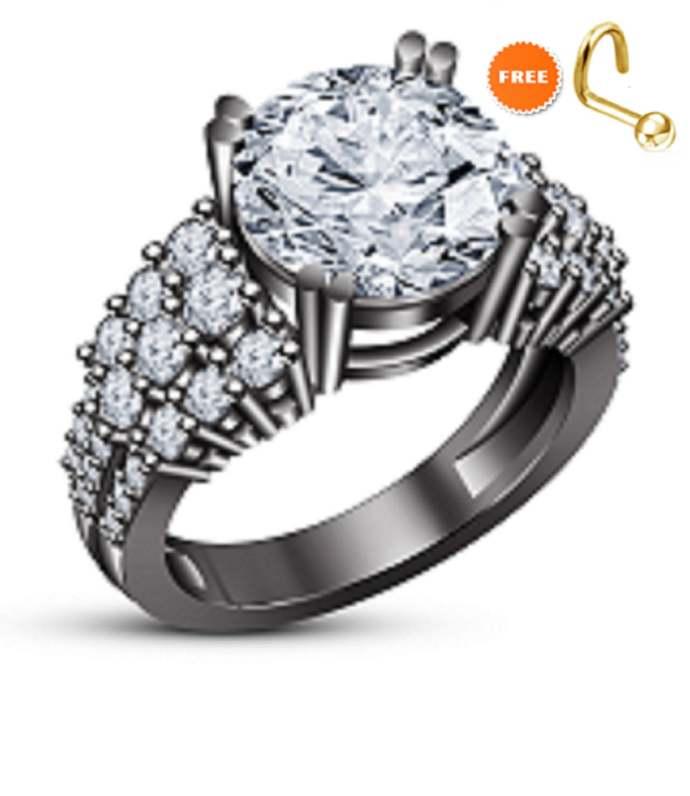 Round Cut White Diamond 14k Black Gold Plated Engagement Wedding Ring 925