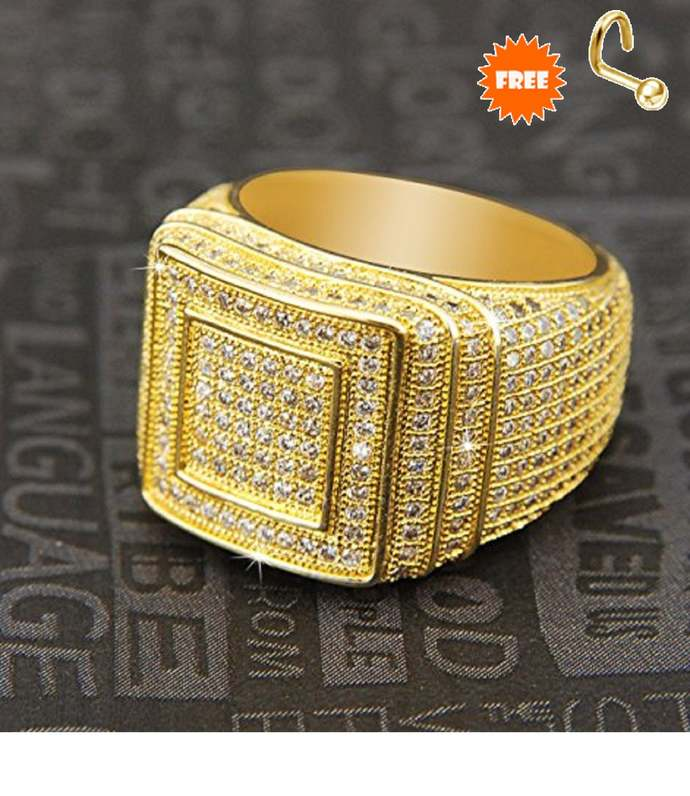 18K Yellow Gold Finish Round-Cut Diamond Men's Engagement Pinky Band Ring Solid