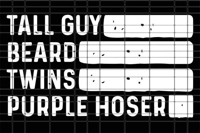 Tall guy beard twins purple hoser