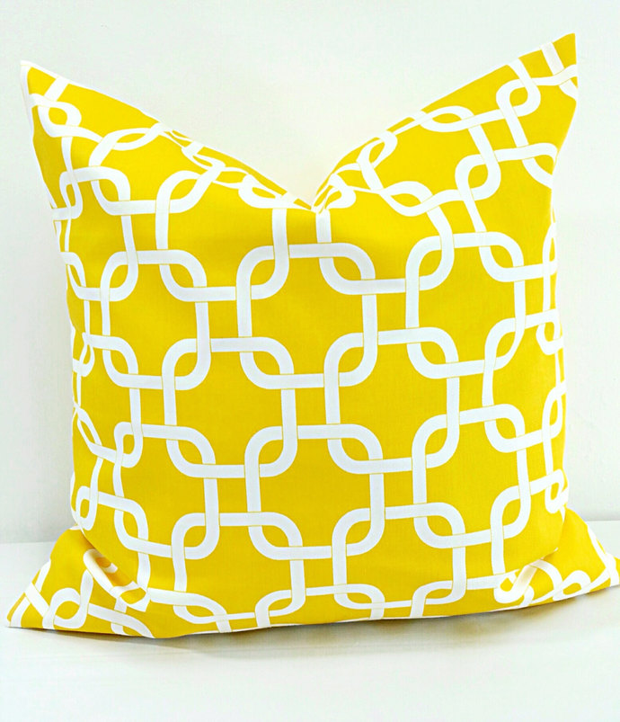 Yellow & White Pillow cover. Gotcha yellow twill sham cover.  Sofa Pillow cover.