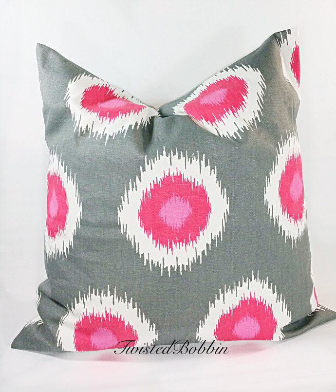 Gray and Pink Pillow cover. Sham cover.  Pillow Case. hot pink. cotton set of