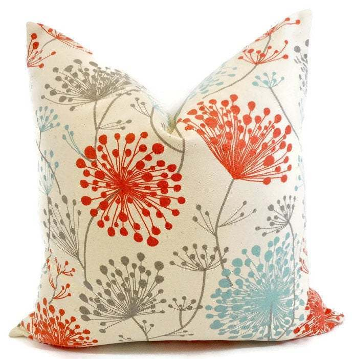 Pillow Cover | Orange & Natural Pillow cover | Irish daisy Byram | Decorative