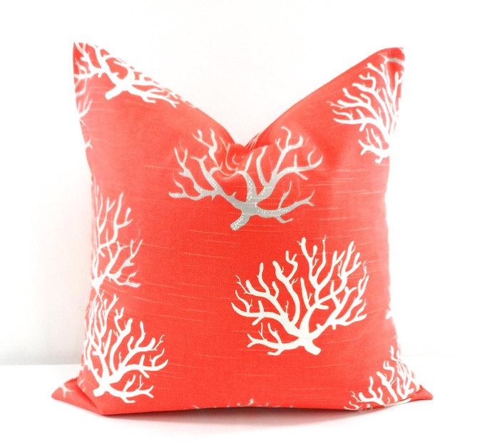 NAUTICAL PILLOW COVER. Pillow. Salmon Coral pillow cover. Coral Pillow case. Cm.