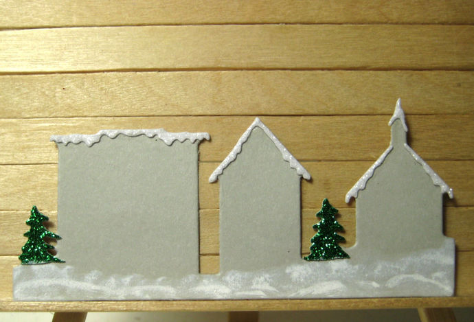 Very Small House, Roof Snow and Tree Scene Metal Cutting Dies