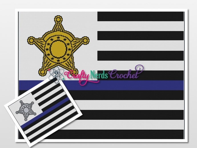 Thin Blue Line Sheriff Badge Pattern Graph With Single Crochet Written