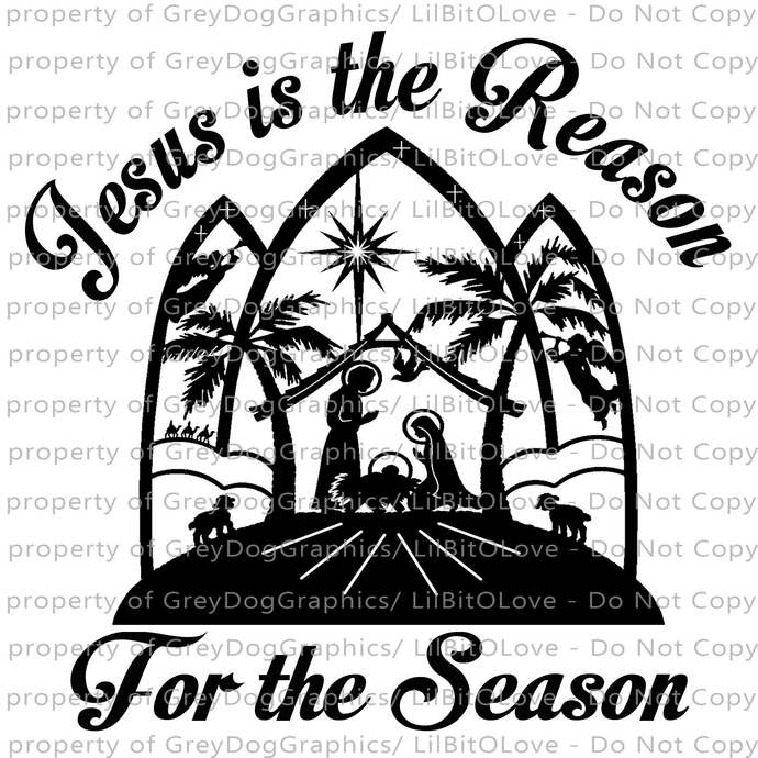 Jesus is the Reason for the Season Vinyl Decal Sticker Nativity Scene Christmas
