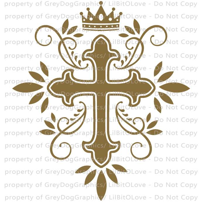 Filigree Cross Vinyl Decal with Cross and Crown Sticker Christian