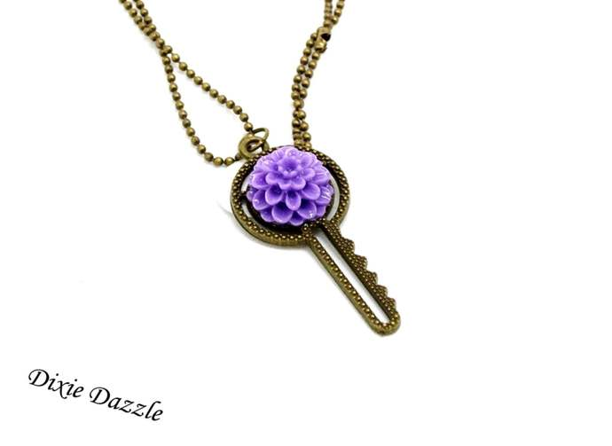 Pastel flower Key necklace, bronze key embellished with resin flower, made in