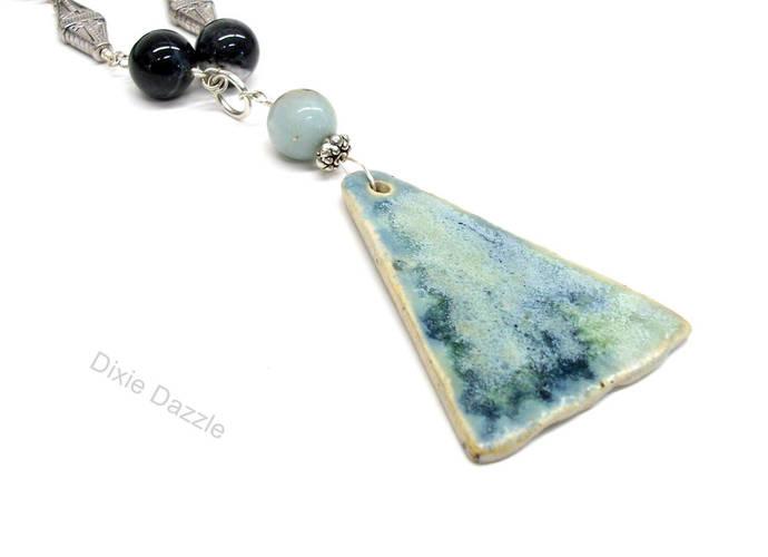 Ceramic pendant necklace, pottery necklace, amazonite, kiwi jasper, black onyx,