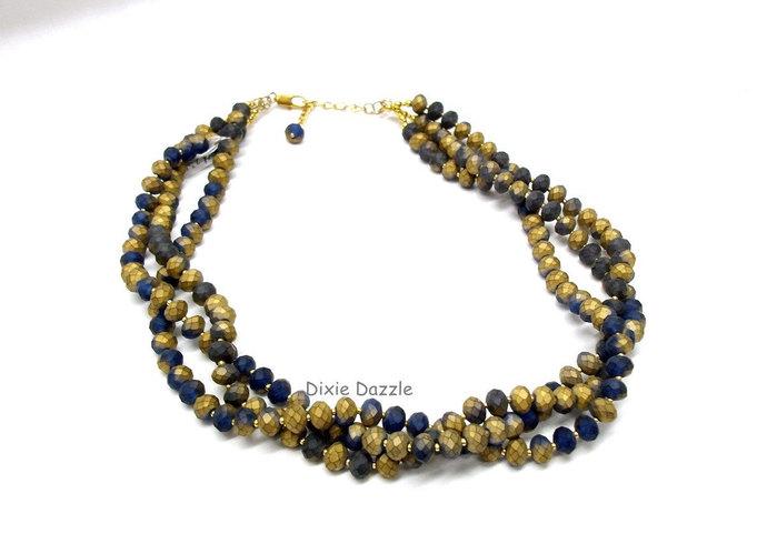 Denim blue and gold faceted glass beads necklace, multi strand necklace, casual