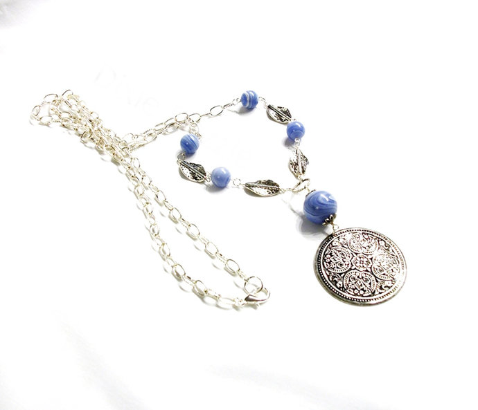 Long sweater necklace, blue lace agate necklace with hammered silver pendant,