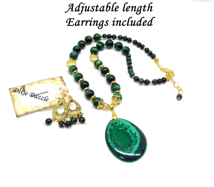 Green and gold necklace, black onyx and malachite necklace with gold tone