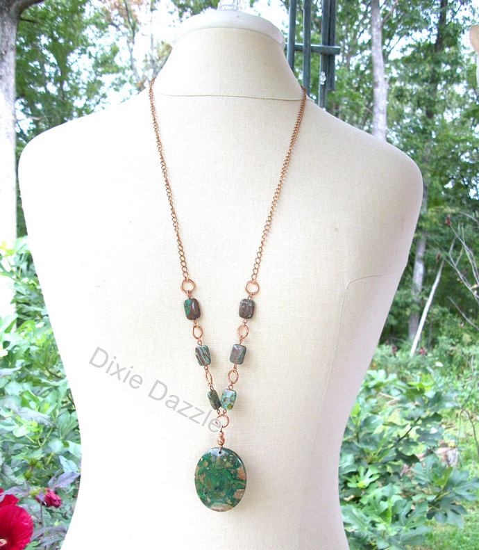 Long boho necklace, crazy lace agate, jewelry set, necklace with large crazy