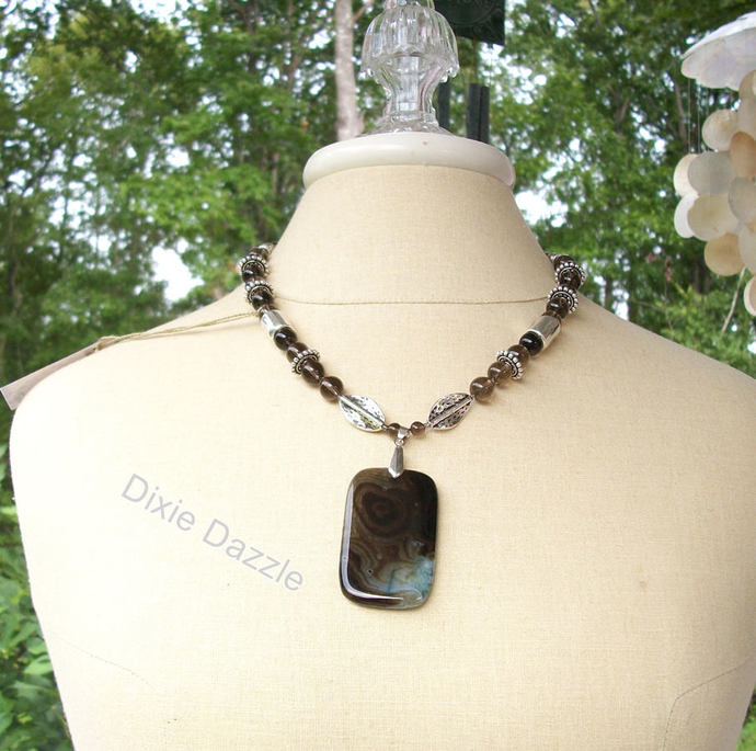 Smoky quartz, agate pendant necklace, bold necklace, large silver beads, office
