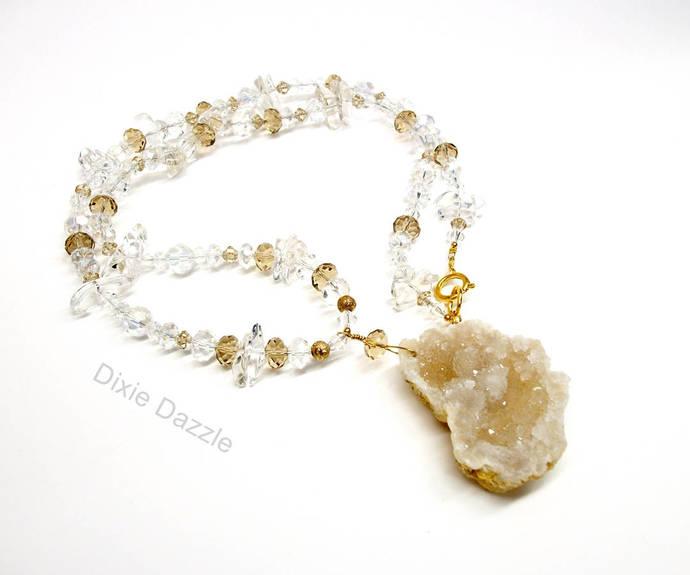 Special occasion jewelry, Quartz druzy necklace, elegant necklace, geode