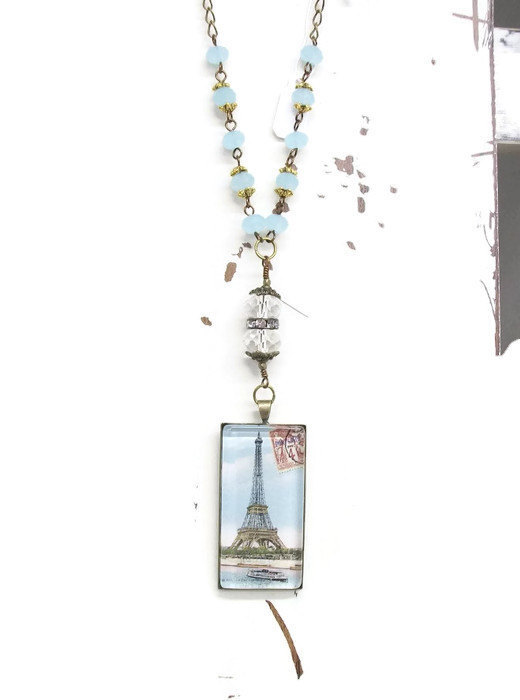 Romantic jewelry Eiffel Tower pendant, Paris domino necklace, vintage French