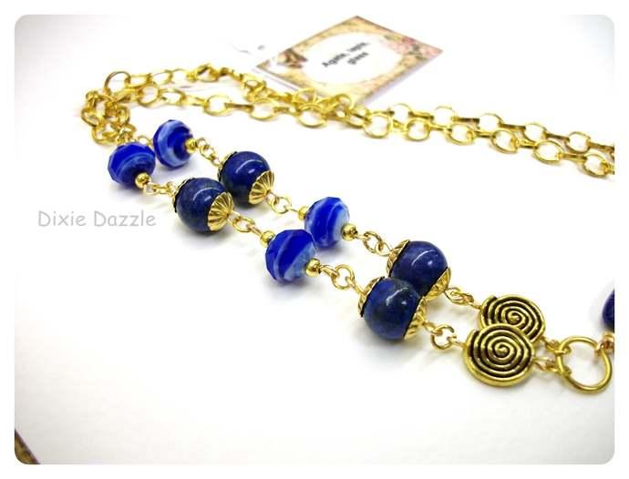 Royal blue necklace,  brilliant blue agate pendant necklace, gold and blue,