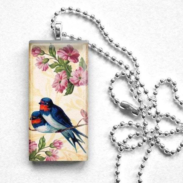 Long cameo necklace, vintage art cameo, bird art, bird and roses,