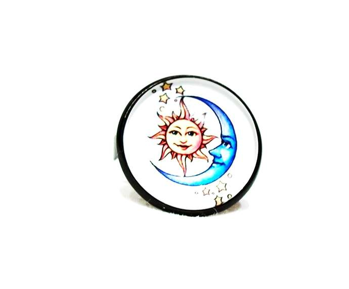 Sun and moon jewelry, adjustable ring with an art image featuring the sun and