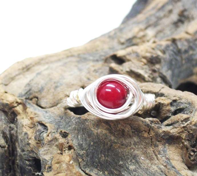 Dainty Coral ring, silver wire wrapped ring, hand wrapped jewelry. Size 8 1/2