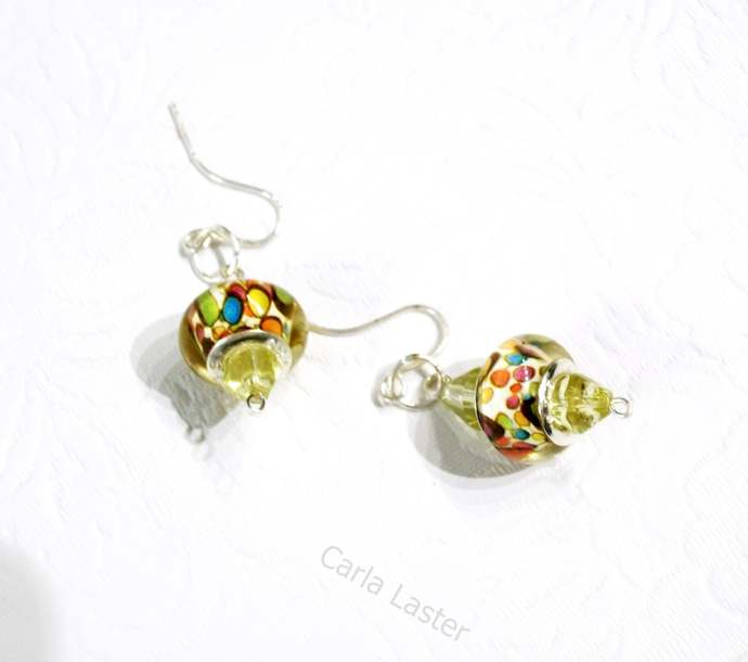Multicolor lamp work bead earrings, orange, blue and yellow pierced earrings