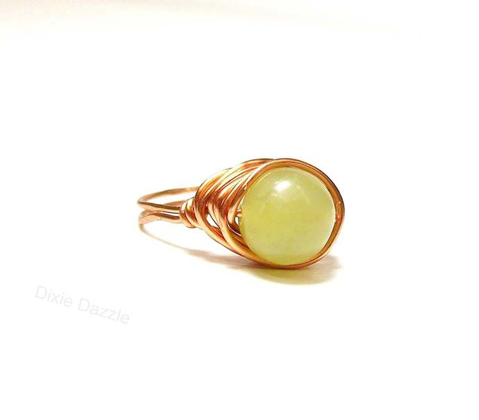 Hand wrapped copper and jade ring, lemon jade and copper wire wrapped ring. Size