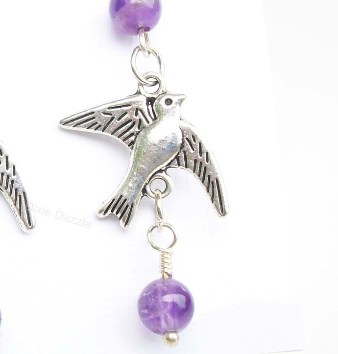 Limited edition amethyst bird earrings, casual style jewelry, fun earrings, made