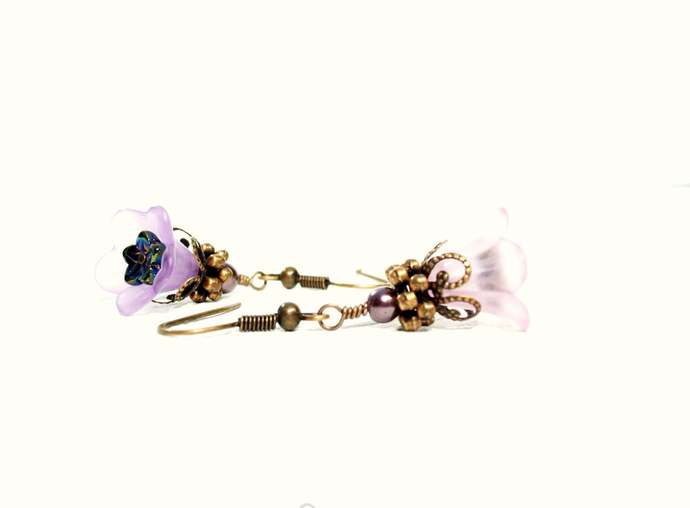 Lavender lucite trumpet flower and antiqued copper earrings from Dixie Dazzle in