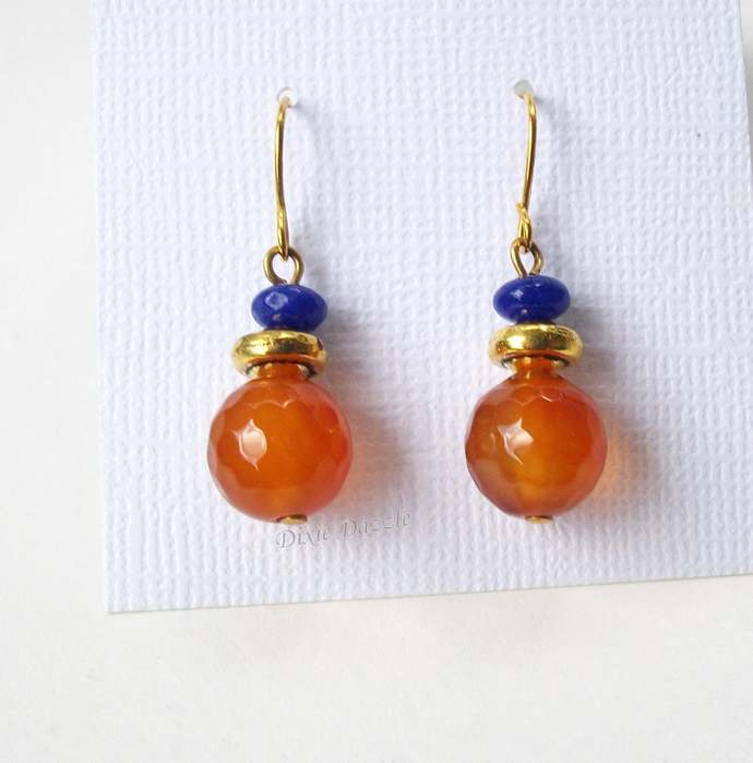 New autumn colors. Orange and purple earrings with carnelian and amethyst beads,