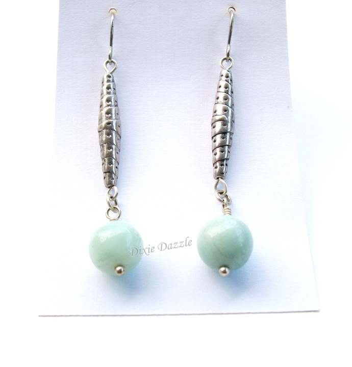 Long silver earrings with amazonite natural stone beads made in Tennessee by