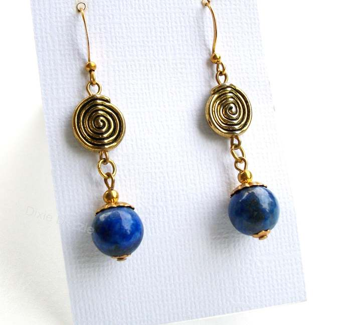 Lapis lazuli earrings, blue earrings, natural stone jewelry, lapis, blue and
