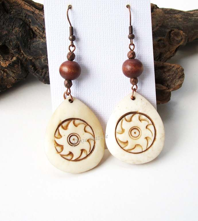 Tribal style carved earrings with wood beads, light weight earrings, neutral
