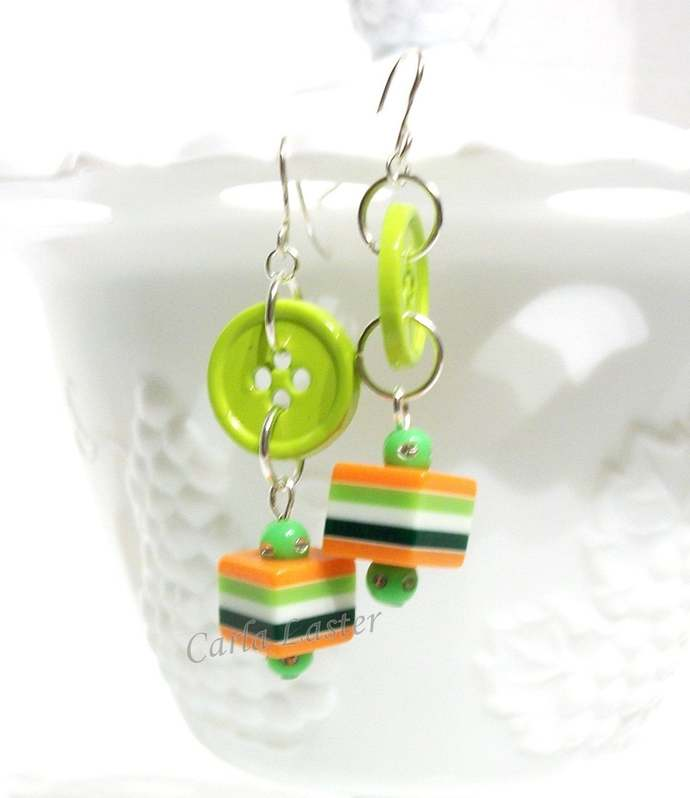 Green and orange button earrings, lightweight earrings by Dixie Dazzle,