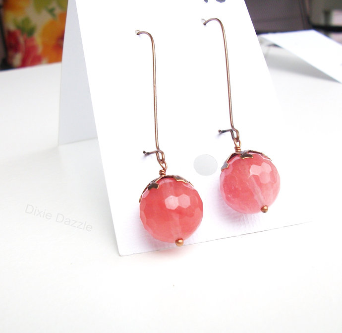 Drop earrings with pink cherry quartz drop on copper earring wires, semiprecious